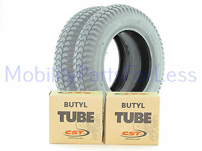 Pair of 3.00-8 Pneumatic Tires & Inner Tubes - Knobby Tread - Primo Powertrax