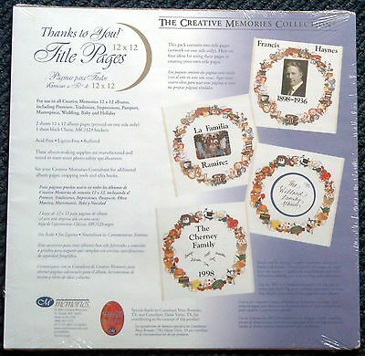 Creative Memories Title Pages + Abc/123 Stickers Bnip & Nla