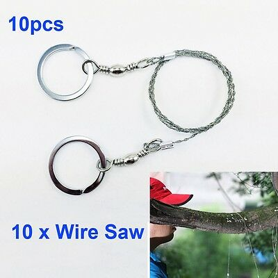 10xEmergency Camping Hunting Outdoor Survival Steel Wire Saw Ring Cutter Tool UK
