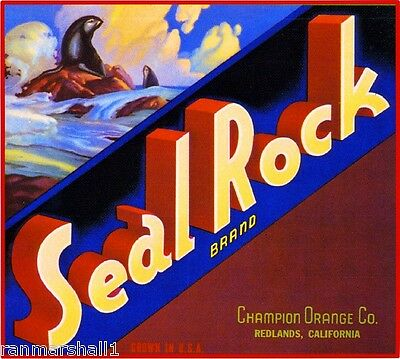 Redlands Seal Rock Orange Citrus Fruit Crate Label Art Print