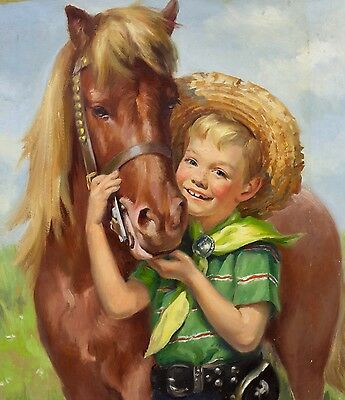 """Ariane Beigneux, """"Untitled"""" (Portrait of a Child and Horse) Oil on Board, SIGNED"""