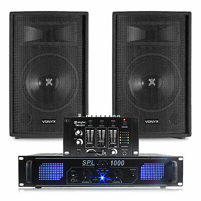 2x Skytec 12 Inch Speakers, Amplifier, Mixer + Cables 1200W Essex