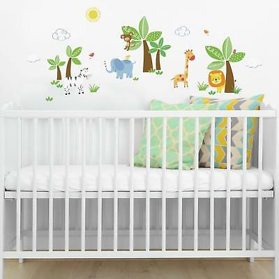 47 New JUNGLE FRIENDS WALL DECALS Safari Animals Stickers Baby Nursery Decor