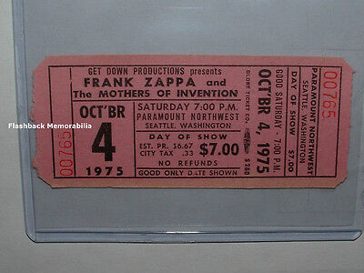 FRANK ZAPPA Unused 1975 Concert Ticket SEATTLE Paramount Northwest MEGA RARE