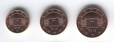Malta 2008 - Mini Set of 3 Euro Coins (UNC)
