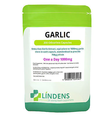 Garlic,1000mg, Odourless, 200 capsules, lowers blood pressure, cholesterol level