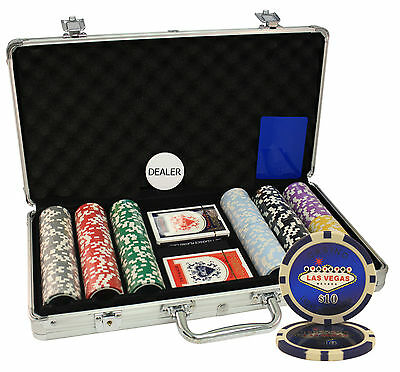 300pcs 14g LAS VEGAS LASER POKER CHIPS SET ALUMINUM CASE