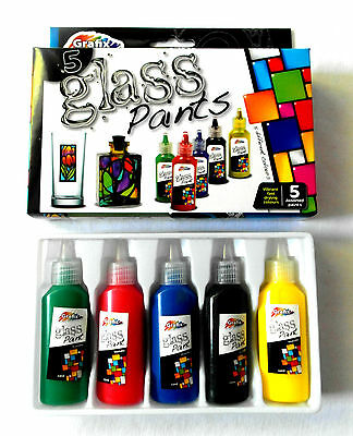 Children's Arts&Crafts - Glass Paints - Washable, 5 Colours, Fast Drying- in Box