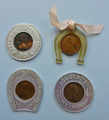 4 Good Luck Penny ~ Encased Lincoln Cents ~ Occident's / Western Springs Service
