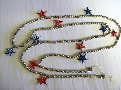 6 Ft. Patriotic Garland with Silver Beads, Red Stars & Blue Stars by KD Vintage