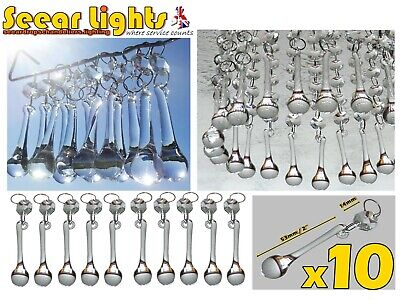 10 Chandelier Glass Crystals Droplets Orbs Drops Antique Look Prisms Light Parts