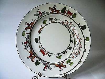 Crown Staffordshire HUNTING SCENE Dinner Plate - Edge flaw