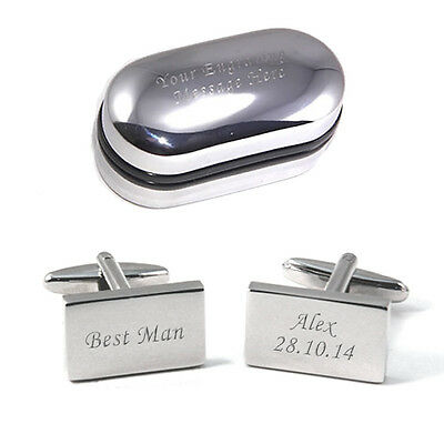 Silver Rectangle Personalised ENGRAVED Best Man Wedding Cufflinks