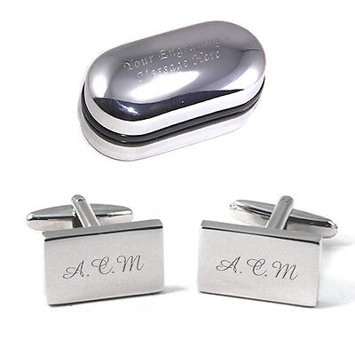 Personalised ENGRAVED Silver Rectangle Monogram Initial Cufflinks - Men's  Gift