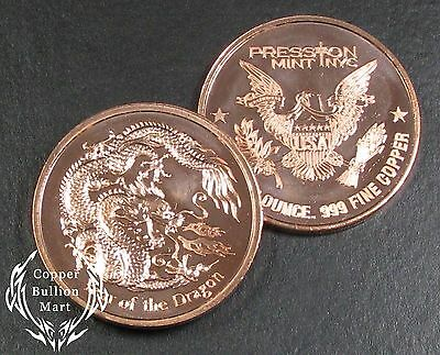 "1oz Copper Bullion Round - ""Year of the Dragon"" Design"