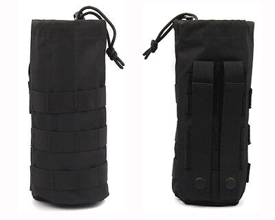 Black Molle Designed Army Military Hiking Water Bottle Utility Carrier Bag Dump