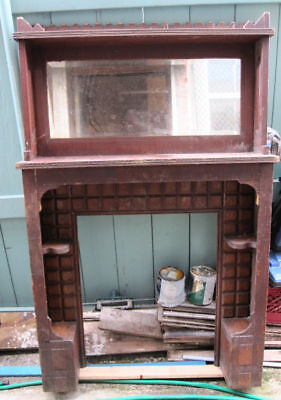 ~ One Of A Kind Tramp Art Fireplace Mantel ~  Cool ~