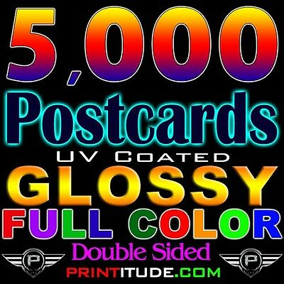 "5000 POSTCARDS 3"" x 5"" FULL COLOR - GLOSSY, 2 SIDED - 3X5 POSTCARDS FREE Design"