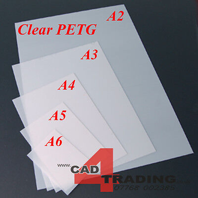 Crystal Clear PETG Vacuum Forming Moulding Plastic Sheet A6 - A2 / 0.5mm - 1.5mm