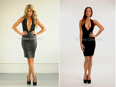 New Womens Ladies Leather Plunge Backless Halterneck Celeb Bodycon Low Cut Dress