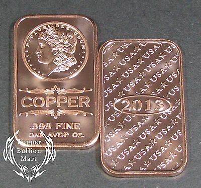 "1 oz ""Morgan Dollar"" Design Copper Bullion Bar (.999 Pure)"