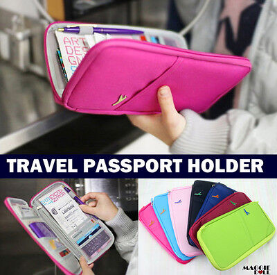 NEW TRAVEL WALLET PASSPORT HOLDER DOCUMENT CREDIT CARD ORGANIZER BAG - 8 colour