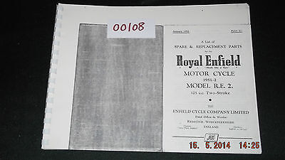 Royal Enfield 1951-52 Model RE.2 125cc Parts List 56-00108 [3-86]
