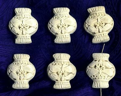 LOT OF 6 IVORY COLOR CINNABAR DOUBLE DRAGONFLY BEADS 32 x 26.5mm On Sale NEWOLDS