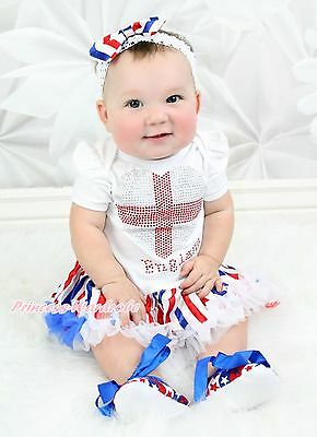 Rhinestone England Heart White Bodysuit Red White Blue Stripe Baby Dress NB-12M