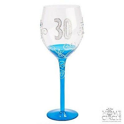Tallulah 30Th Birthday Clear Wine Glass Diamante Blue Stemmed Gift Parties Fancy