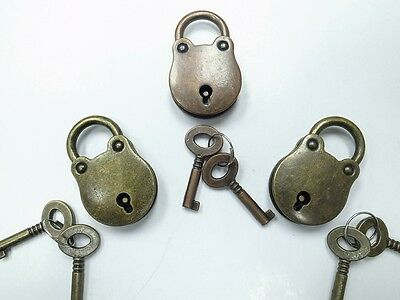 Old Vintage Antique Style Classic Padlocks With Keys (Lot of 3)Assorted Color