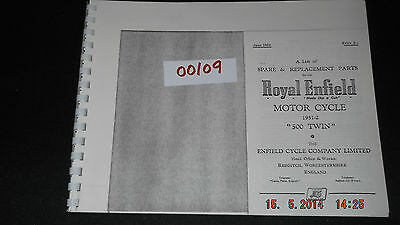 Royal Enfield 1951-52 500 Twin Parts List 56-00109 [3-86]