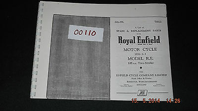 Royal Enfield 1951-52-53  Model RE 125cc Two Stroke Parts List 00110 [3-54]