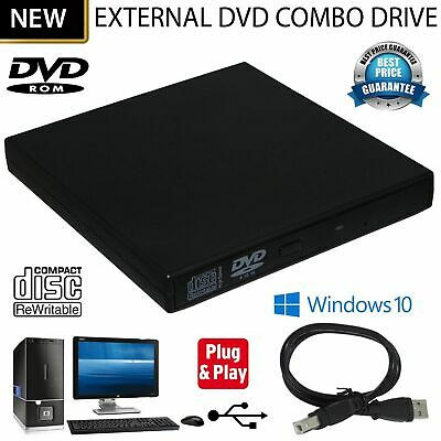 USB 2.0 External DVD/CD R/RW Combo Drive Player For PC Laptop MAC Netbook UK