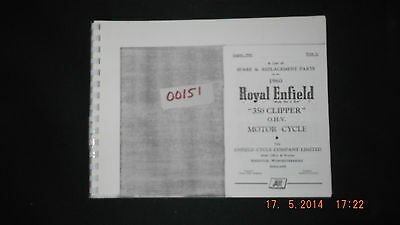Royal Enfield 1960 350 Clipper Parts List 00151 [3-10-1]
