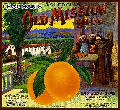 Fullerton Placentia Carmencita #2 Orange Citrus Fruit Crate Label Art Print