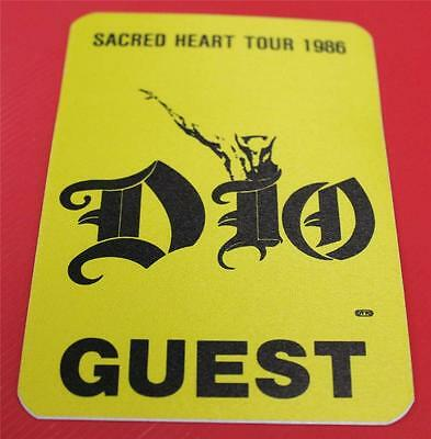 Vintage OTTO Dio Sacred Heart Tour 1986 Yellow Satin Cloth Backstage Pass GUEST