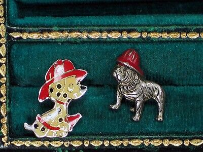 Lot of 2 Fire Department Dogs Lapel / Hat Clutch Back Pins - Must See!