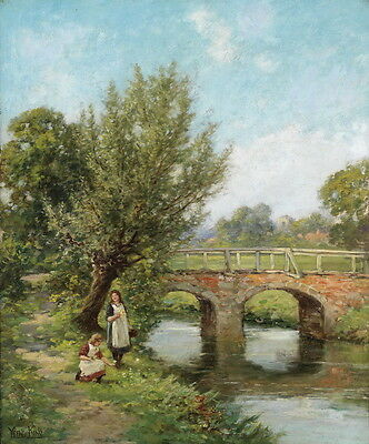 """Large oil painting nice young girls playing by the river landscape on canvas 36"""""""