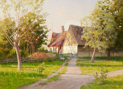 """No framed oil painting village in spring landscape and countrywoman & gooses 36"""""""