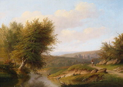Art oil painting beautiful landscape & horseman on road by river free shipping