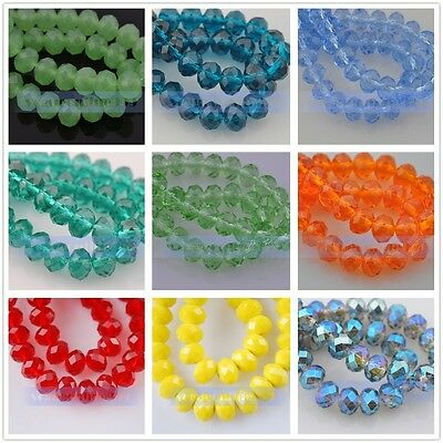 10pcs 8x12mm Faceted Rondelle Crystal Glass Jewelry Findings Loose Spacer Beads