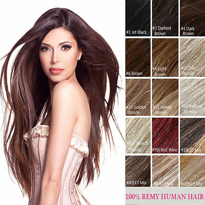 "100% human  hair one-piece 5clips in hair extensions 1b# off black 16""-28"" long!"