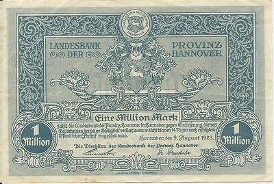 Notgeld - Banknote - Provinz Hannover 1 Million Mark 1923