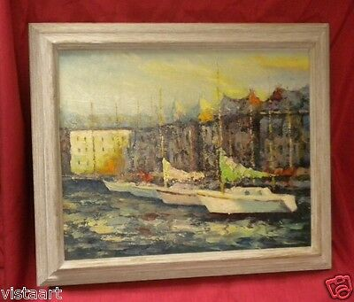 "Oil Painting on Canvas w/ White Wash Wood Frame 16""x 19""- ""Deck Boats"" SEASCAPE"