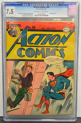 ACTION COMICS #98 CGC 7.5 Superman 1946 Susie app