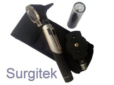 F.O Opthalmoscope Ophthalmoscope Otoscope ENT Diagnostic Set. CE Black Silver
