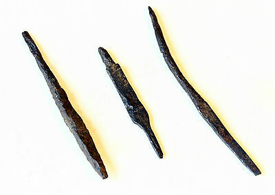 Lot of 3 ANTIQUE ANCIENT MEDIEVAL ROMAN ARTIFACT - IRON Arrow Head ARROWHEAD #