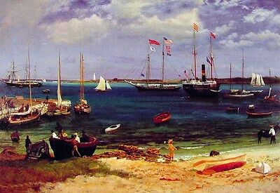 Elegant Oil painting Albert Bierstadt - Nassau Harbor & sail boats canoe fishers