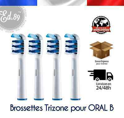 Brossettes type TRIZONE compatibles brosses à dents Braun Oral B